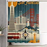 NiYoung Shower Curtains 12 Hooks Included - San Francisco California Retro Skyline, Water-Repellent Mold/Extra Wide Spa Curtain for Stalls and Bathtubs Spa, Hotel