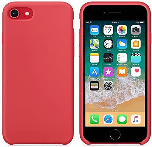 Funda de Silicona Silicone Case para iPhone SE 2020, iPhone 7, iPhone 8, Tacto Sedoso Suave, Carcasa Anti Golpes, Bumper, Forro de Microfibra (Rojo Camelia)