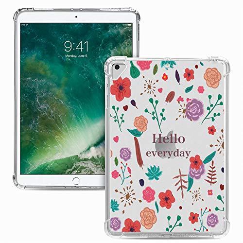 Miagon Weich Dünn Hülle für iPad 5th/6th 9.7 Zoll 2018/2017,Kreativ Durchsichtig Bunt Muster Clear Leicht TPU Crystal Bumper Schutzhülle Cover mit Airbag Ecke,Blume