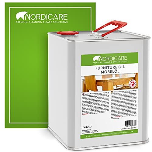 Nordicare Aceite para muebles [2,5L] Aceite incoloro para madera para el cuidado de roble, haya, nogal, pino. Esmalte para madera a base de aceite de linaza. Barniz de aceite de linaza