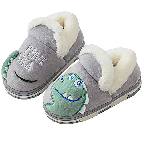 Zapatillas de Estar por Casa para Niños Niñas Pantuflas Invierno Casa Caliente Peluche de Zapatilla Slipper Interior Gris 18/19=25-26EU
