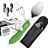 Orblue 4-in-1 Camping Utensils, 2-Pack - Portable Stainless Steel Spoon, Fork, Knife & Bottle Opener Combo Set - Travel, Backpacking Cutlery Multitool, Army Green