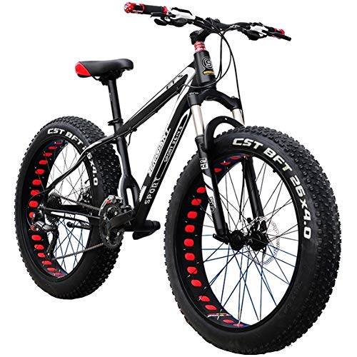 LYRWISHJD 26 Inch Mountain Bike Hybrid Fat Tire Snow Bicycle with 30 Speed and Lockable Fork/Dual Disc Brake Adjustable Seat Country Gearshift Bicycle (Color : Black, 速度 Speed : 27 Speed)