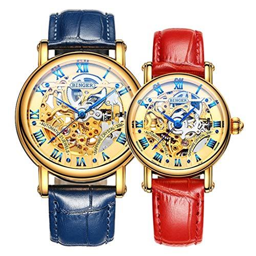 BINGER Orologio da Coppia, Automatico Orologio Meccanico Impermeabile Orologi da Polso Orologio da Uomo Orologio da Donna 5066M-1 (colore : Blue red)