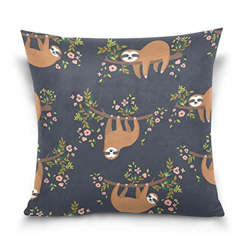 Yuanmeiju Throw Pillow Cover 18x18 inch, Flower Sloth Pattern Decorative Pillow Cases Cushion Cover for Couch Sofa Bed Home