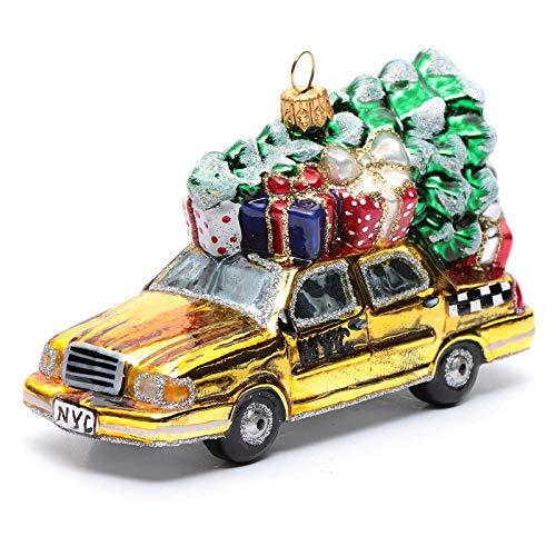 Holyart Blown glass Christmas ornament, New York taxi with Christmas tree