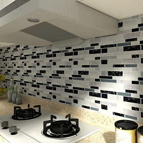 10-Sheet Peel and Stick Tile Backsplash, Vinyl 3D Self-Adhesive Tile Stickers for Kitchen, Bathroom, Counter Top, Marble 78