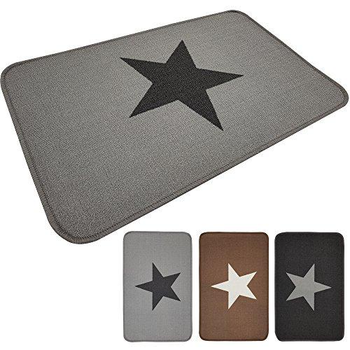 PROHEIM Fußmatte Star 50 x 80 cm Schmutzfangmatte Fußabstreifer Fußabtreter aus Baumwolle und rückseitiger Gummierung, Farbe:Grau