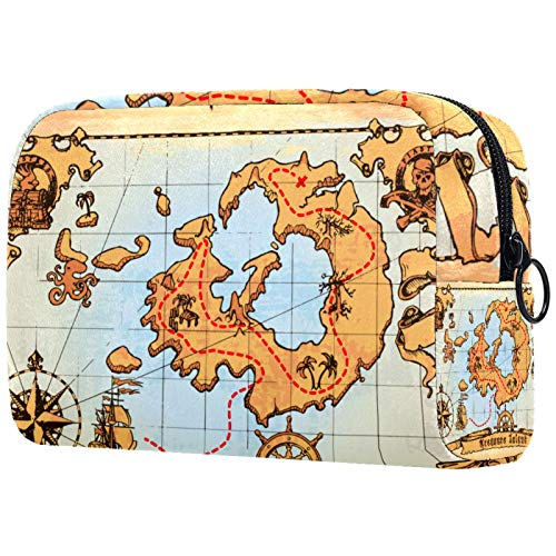 FURINKAZAN Bolsa de maquillaje de viaje para artículos de tocador, diseño de mapa pirata antiguo, para hombres y mujeres