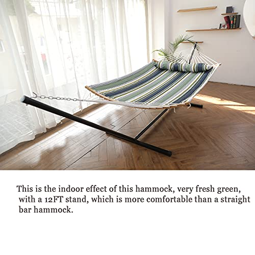HENG FENG 2 Person Double Hammock with 12 Foot Portable Steel Stand and Curved Bamboo Spreader Bars, Detachable Pillow, Quilted Fabric Bed, Blue & Aqua