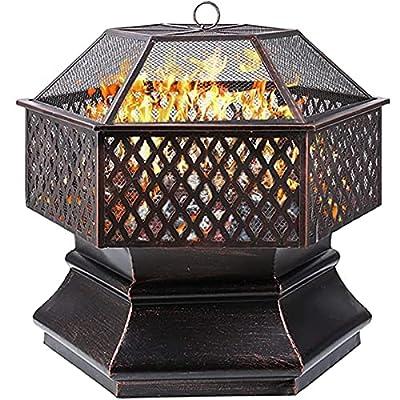GARTIO Fire Bowl, 71 x 71 x 63 cm, 28 Inch Hexagonal Fire Pit, Garden, Fire Basket with Grill Grate, Spark Guard Grate, Poker & Charcoal Grate, for Heating/BBQ, Fire Bowls for the Garden, Beach, Patio by GARTIO