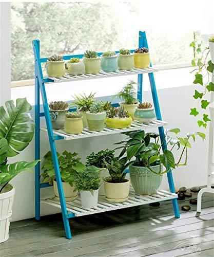 ChenDz Étagère à fleurs Étagère pour balcon intérieur à plusieurs étages En bois Salon en bois massif Espace Pot à fleurs Pose au sol Vert (Color : Blue, Size : 50 * 40 * 96cm(L*W*H))