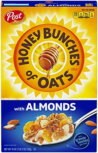 Honey Bunches of Oats with Almonds, Heart Healthy, Low Fat, made with Whole Grain Cereal, 18 Ounce...