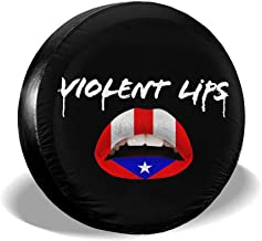 Spare Tire Cover The Puerto Rican Flag Violent Lips Waterproof Dust-Proof Wheel Tire Cover for Jeep,Trailer, RV, SUV and Many Vehicle