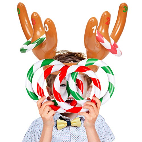 Joyjoz 2 Packs Christmas Inflatable Reindeer Antler Hat with Rings Party Toss Game For Xmas Family Kids (2 Antlers and 12 Rings)