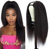 U Part Wig Human Hair Kinky Straight Wigs for Black Women, 12 inch Italian Half Wig 2x4 U Shape Clip in Wigs Yaki Straight U Part Wig Remy Human Hair Extension