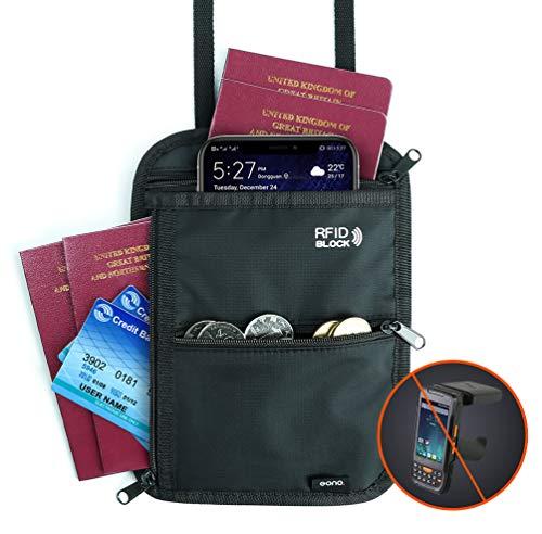 Eono by Amazon - Brustbeutel mit Mehreren Taschen, RFID-Versteckter Sicherheitshals-Geldbeutel für Bargeld, Karten, Schlüssel und Reisepass mit Verstellbarem Halsriemen