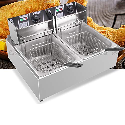DYRABREST 6/12L Deep Fryers,Electric Deep Fryer with Basket,Handle,Stainless Steel Cover and Residue Board,Temperature Control (6L)