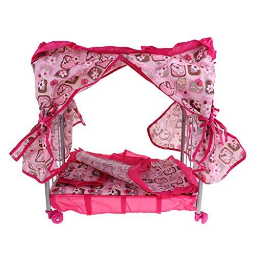 D DOLITY Casa de muñecas, muebles de princesa, cuna, cuna, cuna, cuna, con cortina, juguete, regalos para niños y niñas