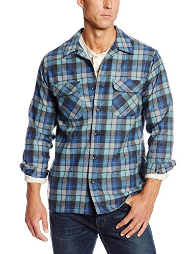 Pendleton Herren Board Classic Fit Tall Long Sleeve Wool Shirt Button-Down Hemd, Original Surf Plaid-30789 Blau/Grün, Groß