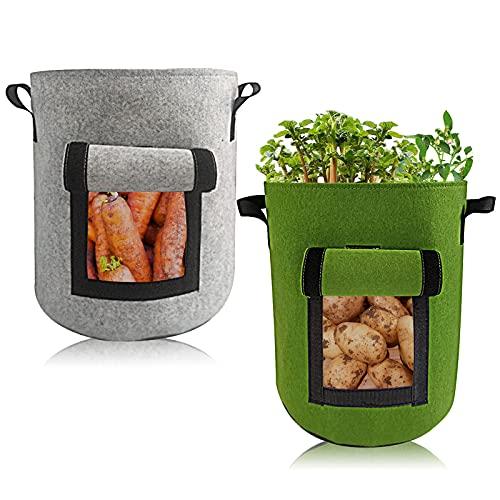 Fcslvy Torby na rośliny, 2 sztuki, 7 galonów, worki na rośliny, pomidory, worki na rośliny z włókniny, z uchwytami, na warzywa, pojemniki wielokrotnego użytku