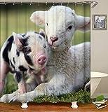 JZDH Duschvorhang für Badezimmer Schaf Und Schwein Muster Protect Privacy Duschvorhang, Digital Gedruckte Duschvorhang Ist Leicht Zu Entfernen