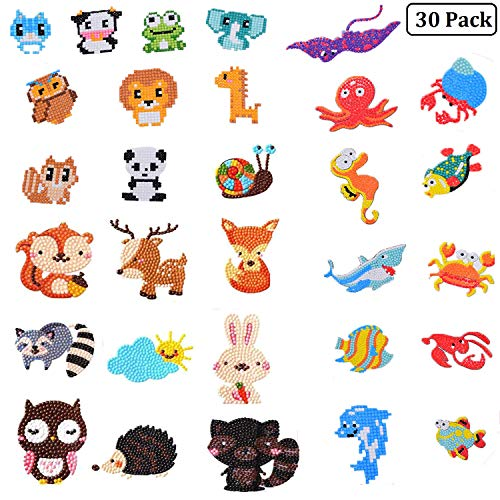 Olgaa 30Pcs Diamond Painting Stickers for Kids 5D Cute Cartoon Sticker for Children Feel Free to Stick it in a Cup, Room or Refrigerator