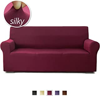 NICEEC Sofa Cover 1-Piece Super Silky Viscose Nylon Blend Sofa Slipcover Stretchable Easy Fit Durable 3 Cushion Couch Cover Non-Slip Washable Furniture Sofa Protector (3-Seater,Burgundy Red)