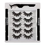 Ruairie False Eyelashes with Eyeliner, Fake Eyelashes with Magic Eyeliner 2 in 1 Self-Adhesive Lash Glue Liner 2 Pcs - Strong Hold for False Lashes 5 Pairs
