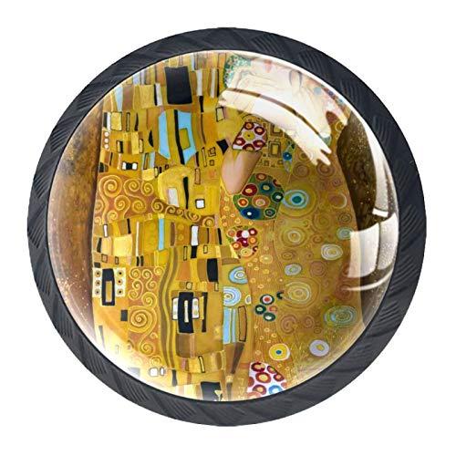 Schubladengriffe Schrankknöpfe Knöpfe Rundpackung mit 4 Stück für Schrank,Schublade,Truhe,Kommode usw. - Klimt inspirierte abstrakte Kunst