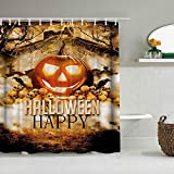 DAHALLAR Duschvorhang,Halloween Kürbis Schädelkopf Halloween Holiday Party Dekoration Druck,personalisierte Deko Badezimmer Vorhang,mit Haken,180 * 210