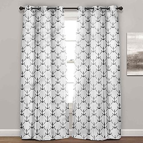 Cortinas aisladas térmicas, ancla, azulejos con anclajes, bloquean la luz solar para dormitorio (2 paneles de ancho 122 x largo 63 pulgadas)