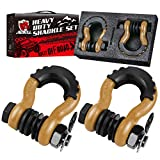 AMBULL Shackles 3/4 Inch D Ring Shackle (2 Pack) 41,850lb Break Strength with 7/8 Inch Pin, Isolator and Washer Kits for Use with Tow Strap, Winch, Off-Road Jeep Truck Vehicle Recovery, Gold