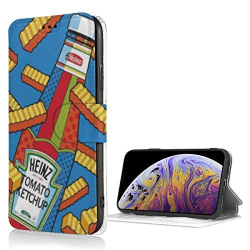 Ni Pommes und Ketchup Fashion iPhone Xs Hülle Leder Kartenfach Anti-Kratzer und Stoßdämpfung