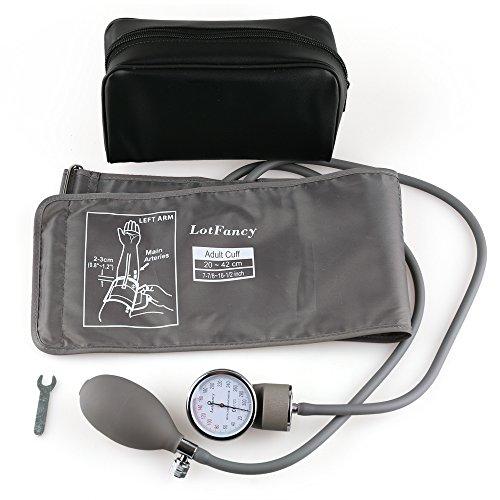 LotFancy Manguito de Presión Arterial Manual 20-42cm para Adultos, Esfigmomanómetro Aneroide de Brazo Superior con Estuche con Cremallera Adecuado para Servicios de Emergencia, Médico, Práctica