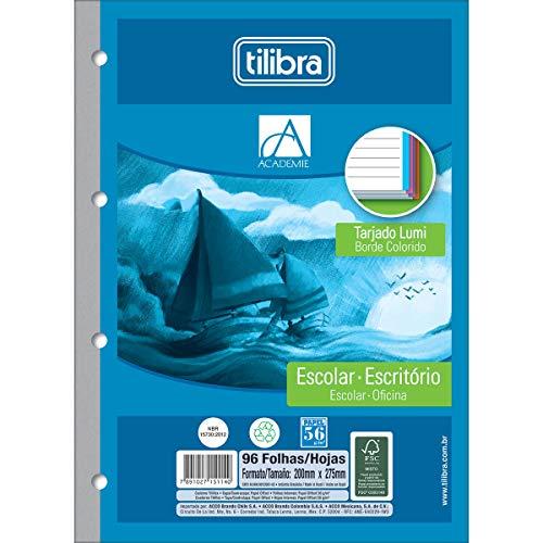 Refil Tiliflex para Caderno Argolado Universitário Borda Colorida, Tilibra, Académie, 151149, 20x27.5cm, 4 Cores, 96 Folhas