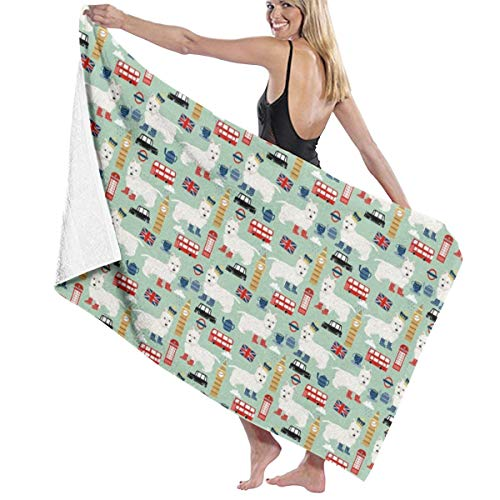 Westie London Travel England Big Ben Dog Breed Fabric Mint Quick-Drying Beach Towel The Best Lightweight Bath Towel for Swimming Beach (32 x 52) inches