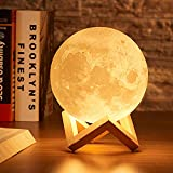 Moon Lamp, Welkey Plus 16 Colors 3D Printing LED Night Light Moon Light with Stand & Remote Control, Dimmable & Time Setting, USB Rechargeable for Kid Lover Birthday Day Gift (4.8in)