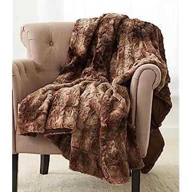 Pinzon Faux Fur Throw Blanket 63  x 87 , Alpine Brown