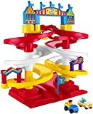 "Kids ages 2 years and older can race through the carnival with Woody, Bunny & Ducky! Press the lever to send vehicles zooming down the speedway Carnival sounds and real character phrases play when lever is pressed, too! Playset stands over 15"" tall (..."