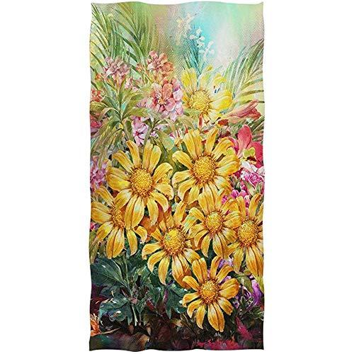 Suave Margarita Grande Girasol Flores Amarillas Hojas Ramo Invitado Multipropósito Personalizado Altamente Absorbente Toallas de baño Decorativo a Mano