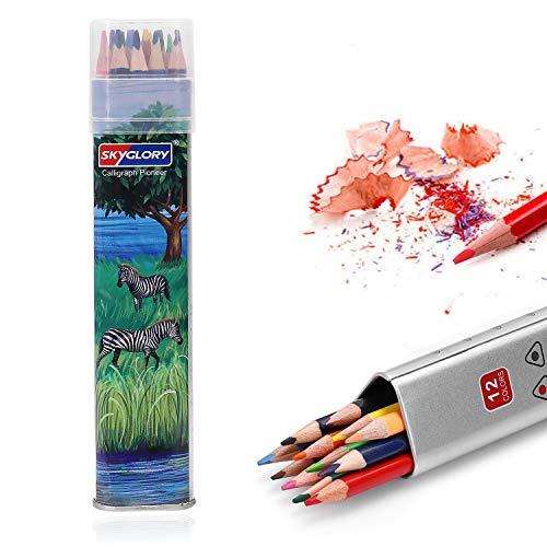 Buntstifte, SKYGLORY 12 Verschiedene Farbstifte, Buntstifte-Set, Verpackt in Exquisite Eisen-Box, Weiche Wachs-Kerne, Zum Malen Geeignet für Erwachsene, Künstler, Kinder und Studenten.