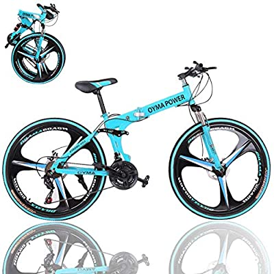 Mountain Bike, 26-Inch Wheels, 21 Speed Dual Disc Brakes, Folding Bike for Men & Women, High Carbon Steel Frame, Full Suspension, Bicycle Urban Commuters, Multiple Colors (Blue)