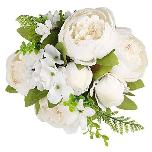 Hunpta@ Künstliche Blumen Weiß Pfingstrose Hortensie, 1 Strauß 13 Köpfe Hochzeit Brautstrauß Kunstblumen Blumenarrangement für Haus Büro Balkon Garten Party Valentinstag Dekoration