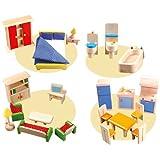 Unbekannt Puppenhaus-Möbel 25-TLG. / 4 Zimmer: Wohnzimmer, Küche, Schlafzimmer + Bad / Material:...