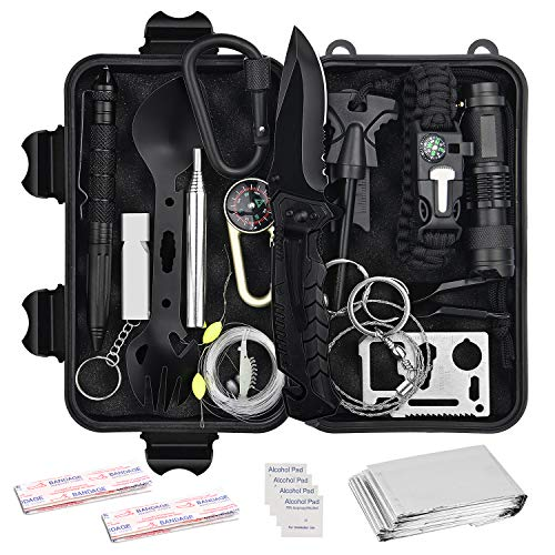 Nilight Emergency Survival Kit,18 in 1 Survival Gear and Equipment Camping Knife Survival,Tactical Gear,Self Defense Kit Hiking Gear Essentials for Women Men