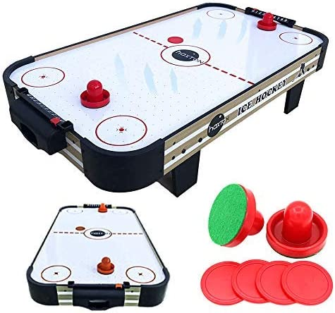 haxTON Air Hockey Table Accessories Sets with 4 Size Pucks and 2 Plastic Lightweight Goalies Replacement Accessories for Air Hockey Game Tables (Mini air Hockey Table) …