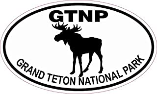 StickerTalk Moose Oval Grand Teton National Park Vinyl Sticker, 5 inches by 3 inches
