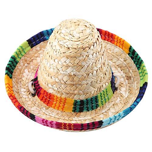 Pssopp Haustier Hut Strand Stroh Hüte Hunde Mexikanischen Stil Hut Mini Stroh Sombrero Party Hut mit Baumwollseil für kleine Haustiere Welpen Katze