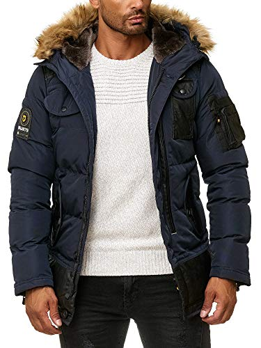 BLACKROCK Herren Winter-Jacke - Gefütterte warme Herrenjacke - Slim-Fit - mit Kapuze und abnehmbarem Kunstfell - Navy Medium